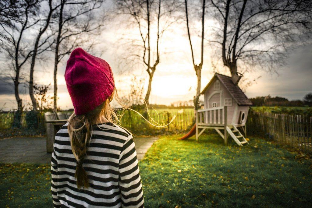 girl, childhood, garden